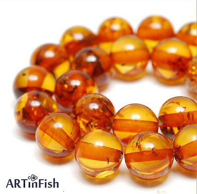Genuine Baltic AMBER Round 7mm BEADS (5 psc.). Loose with Hole. Cognac | B-01