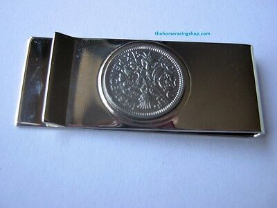 Genuine Lucky Sixpence Silver Plated Chrome Money Clip Horse Racing New
