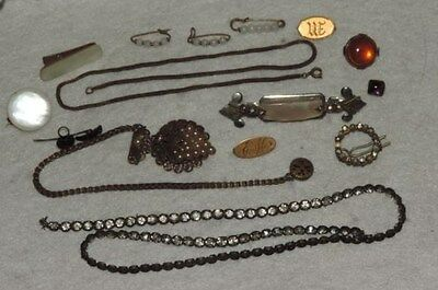 "Victorian Jewelry Lot Parts Repair Pins Rhinestones Glass & More ""AS IS"" (xx907)"