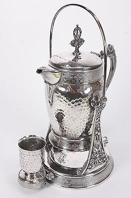 Meriden Britannia Silverplate Tilt-Pitcher Water Cooler W/ Stand, Cup, Drip Pan