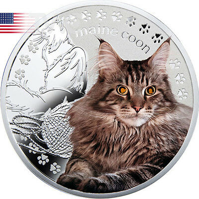 Niue 2014 1$ Maine Coon Man's Best Friends – Cats Proof Silver Coin