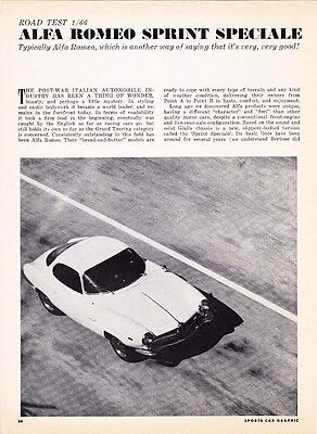 1966 Alfa Romeo Sprint Speciale  ~  Original 4-Page Road Test / Article / Ad