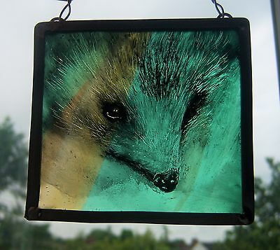 Hedgehog Stained Glass Leaded Painted Panel Hanger Suncatcher