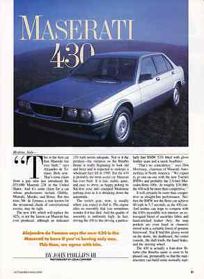 1988 Maserati 430  ~  Nice Two-Page Article / Ad