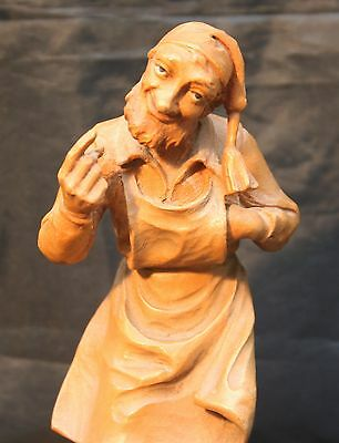 Superb Vintage Anri Hand Carved Wood Man in Apron Figurine Sculpture Characature