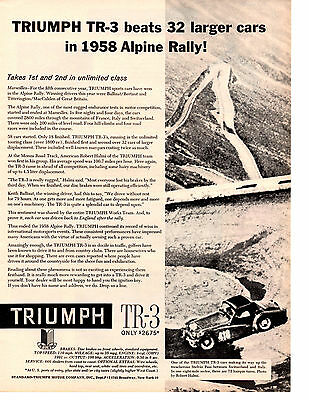 1958 Triumph Tr-3 / Tr3 @ The Alpine Rally  ~  Nice Original Print Ad