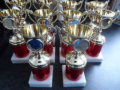 Joblot Of 10 - Gold/red  Trophies  - 7  Inch - Free Engraved Plates