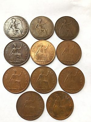 British One Penny Coins 1918 1921 1934 1946 1953 1963 1964 1966 1967