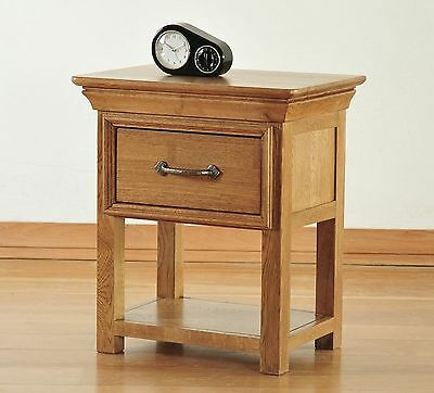 French solid oak furniture small side end lamp table with drawer