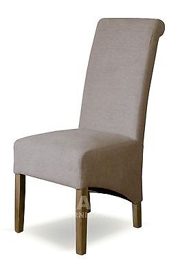 Kensington solid oak furniture set of four beige fabric dining chairs