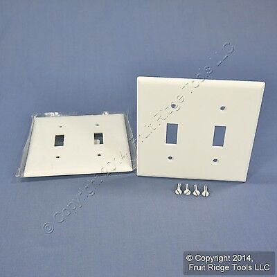 2 Cooper White 2-Gang Standard Toggle Switch Cover Wall Plate Switchplates 2139W