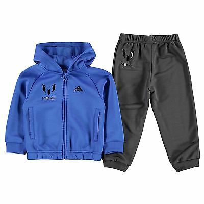 adidas Kids Messi Jogger Suit Tracksuits Infant Boys Football Ribbed Chin Guard