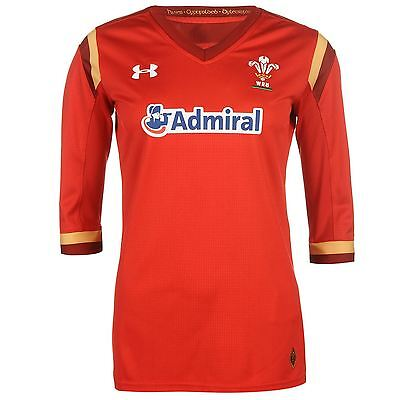 Under Armour Womens Wales Rugby Home Jersey Shirt 2017 HeatGear Mesh V Neck