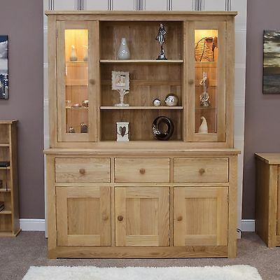 Vermont solid oak furniture large dresser display cabinet with light