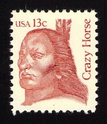 JL-1705 Sc 1855a 13c Crazy Horse single VF NH tagging omitted error, SCV $9