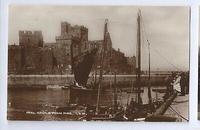 Postcard Peel Castle from Pier Isle of Man IOM 1925 XL RP Douglas cancel