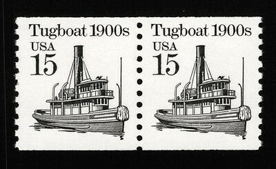 JL-1712 Sc 2260b 15c Tugboat coil pair VF NH tagging omitted error, SCV $8.50