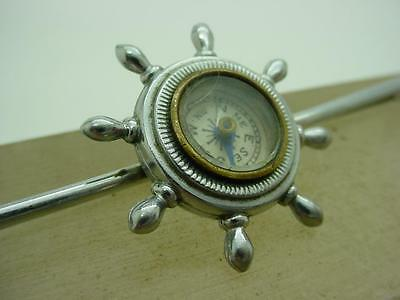 Vintage Nautical Ships Wheel Design Pin Brooch with Working Miniature Compass