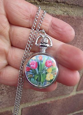 silver tone FLOWER TULIP necklace pendant pocket mini watch 2017  MOTHER GIFT