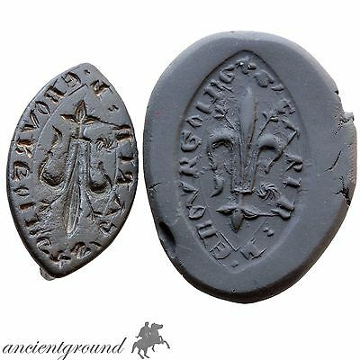 Museum Quality European Crusaders Bronze Seal Pendant With Inscriptions & Herald