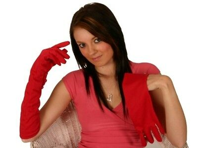 Ladies Gloves Ladies Red 20s 30s 50s Fancy Dress Accessory