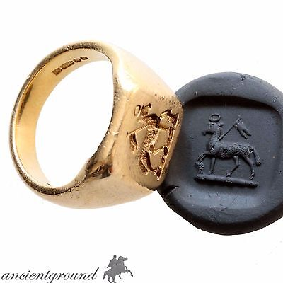Vintage Ancient Style 18 Carat Gold Seal Ring Ars