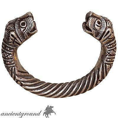 Extremely Rare Bactria Massive Silver Bracelet With Lion Terminals Circa 300-100
