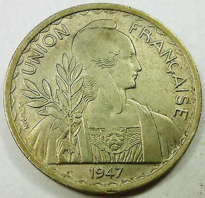 1947 French Indo-China 1 Piastre VF Very Fine Condition - Rare Low Mintage