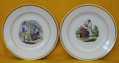 "Pair (2) Antique RORSTRAND, SWEDEN ""Iereso"" & ""Wingaker"" PLATES c1840"