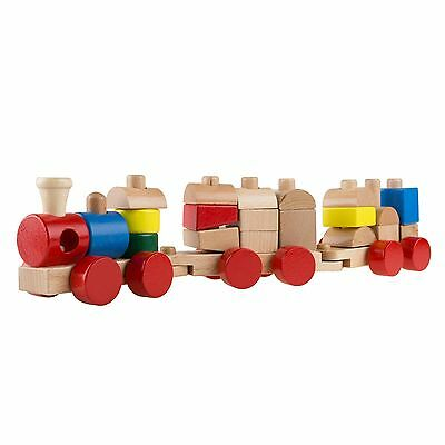 Toy Wooden Train Set 3 Cars Learning Building Blocks Colors Baby Learning