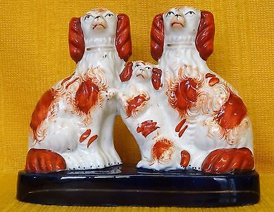 Rare 19thC Staffordshire Figure Spaniels and Pup Family Inkwell Pen Holder c1860