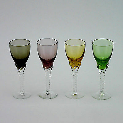 "Four Coloured Twisted Stem Tall Liqueur Glasses - 12.5cm/5"" High"