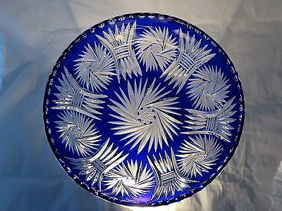 Vintage CZECH BOHEMIAN Cobalt Blue CUT TO CLEAR GLASS CRYSTAL BOWL 9""