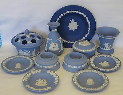 Job Lot Collection of 11 WEDGWOOD Jasper Ware Pieces