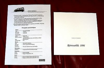 1996 MATRA AUTOMOBILE folder & 2-sided single sheet with specs. - French text