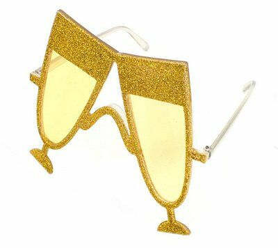 Party glasses Champagne Gold Accessory Photo Booth Fancy Dress