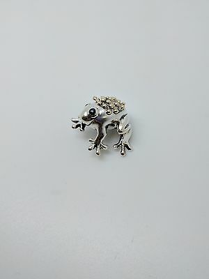 Tiffany & Co. Sterling Silver & 18K Gold Frog Pin Brooch - Blue Sapphire Eyes