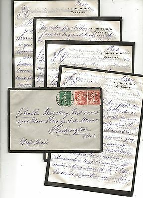 1915 Mourning Cover and Letters Paris to British Embassy Washington