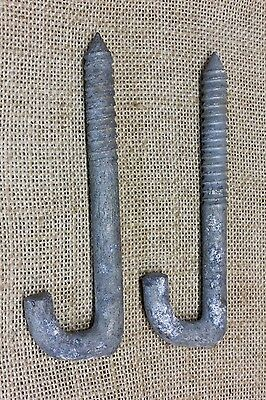 "2 Plant Porch Hooks vintage lag bolts deck post sign hanger 5 x 7/16"" HEAVY DUTY"