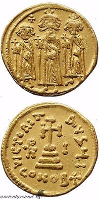 Byzantine Gold Solidus Coin Heraclius Constantinople 639-641 Ad