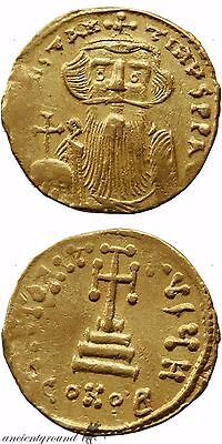 Byzantine Gold Solidus Coin Constans Ii 641 Ad Constantinople