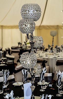 Crystal Effect Globe Candle Holder-Wedding -Table Centrepiece - Event-Party