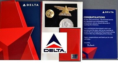 DELTA AIRLINES Wings 35 Years SERVICE PIN 1/10 10k with 3 DIAMONDS