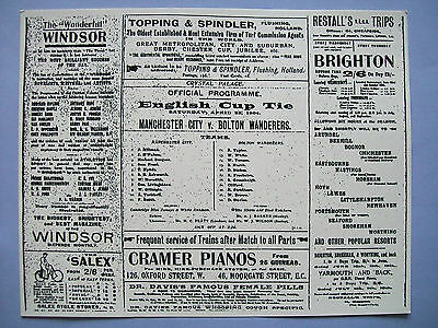 1904 FA Cup final programme Manchester City v Bolton Wanderers, mint condition.
