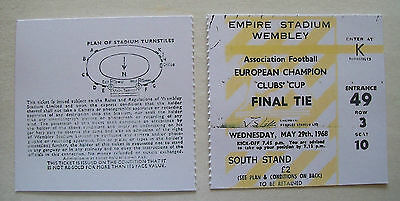 1968 European cup final ticket Manchester United v Benfica in Mint condition.