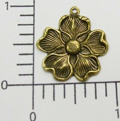 30533        12 Pc  Brass Oxidized Victorian Dogwood Charm Jewelry Finding  SALE