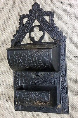 Match Safe Striker fancy Victorian iron vintage 1860's cook stove era rustic