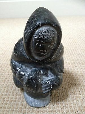 Inuit Eskimo Carved Stone Fisherman By Peter Awa. Canadian Inuit Art.