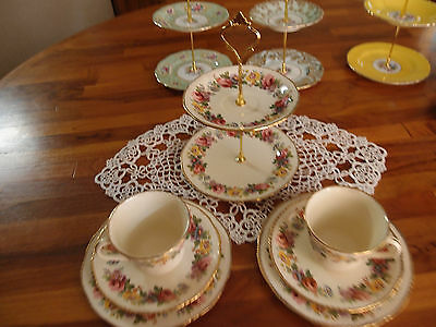 Vintage Ridgway biscuit trinket high tea stand 2 tier with two matching trios