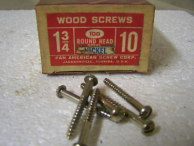 """#10 x 1 3/4"""" Round Head Nickel Plated Wood Screws  Slotted Qty. 100"""